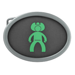 Kelly Green Cowboy Oval Belt Buckle