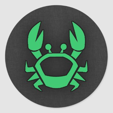 ColorStock Kelly Green Crab Classic Round Sticker