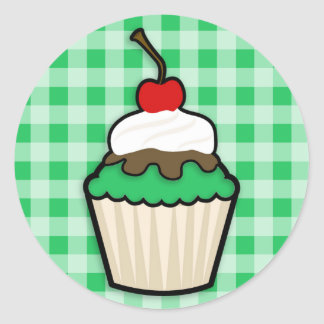 Kelly Green Cupcake Classic Round Sticker