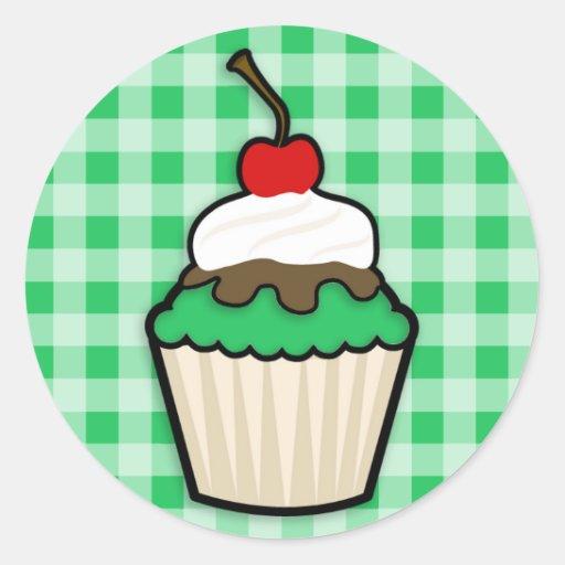 Kelly Green Cupcake Round Stickers