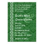 Kelly Green Damask Lace Wedding Invitations