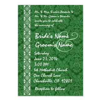 "Kelly Green Damask Lace Wedding Invitations 5"" X 7"" Invitation Card"