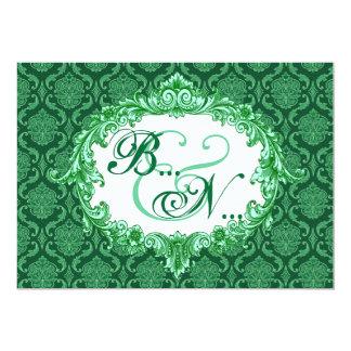 Kelly Green Damask Monogram Wedding Template 5x7 Paper Invitation Card