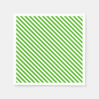 Kelly Green Diagonal Stripe Paper Napkin