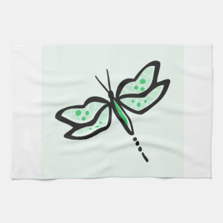 Kelly Green Dragonfly Towels