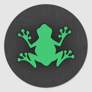 Kelly Green Frog Round Stickers