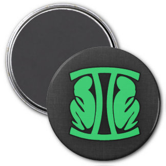 Kelly Green Gemini 3 Inch Round Magnet