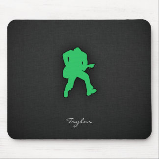 Kelly Green Guitar Player Mouse Pad