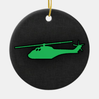 Kelly Green Helicopter Double-Sided Ceramic Round Christmas Ornament