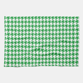 Kelly Green Houndstooth Hand Towels