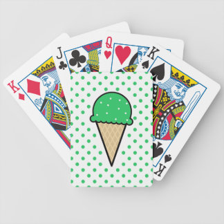 Kelly Green Ice Cream Cone Bicycle Playing Cards