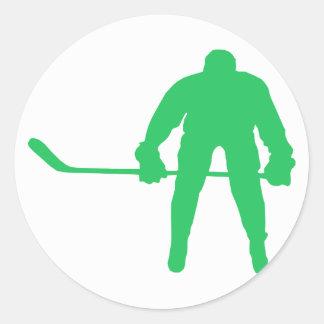 Kelly Green Ice Hockey Round Sticker