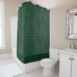 Kelly Green Irish White Black Stripe Plaid Shower Curtain