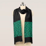 "Kelly Green Irish Lace Scarf<br><div class=""desc"">Kelly Green Irish Lace Scarf.  Elegant,  vintage inspired rich green lace print against black.</div>"