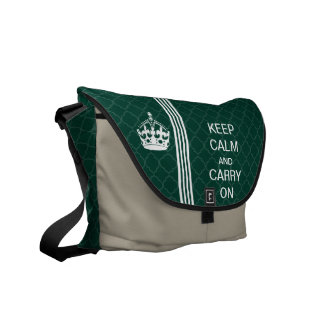 Kelly Green KEEP CALM AND CARRY ON Racing Stripe Messenger Bag