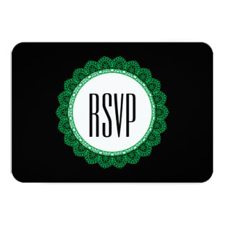 Kelly Green Lace Circle RSVP Wedding V47E 3.5x5 Paper Invitation Card
