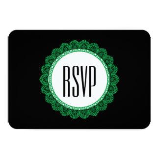 Kelly Green Lace Circle RSVP Wedding V47E Custom Invites