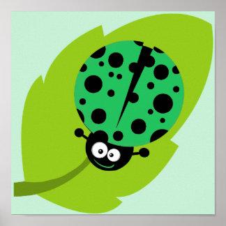 Kelly Green Ladybug Poster