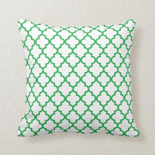 Kelly Green Lattice Pattern Pillow
