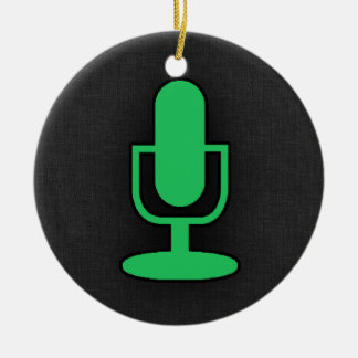 Kelly Green Microphone Ceramic Ornament