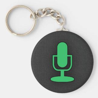 Kelly Green Microphone Basic Round Button Keychain