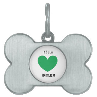 Kelly Green Modern Graphic Heart Design A08 Pet Name Tag