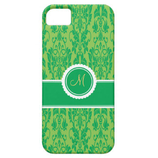 Kelly Green Monogrammed Damask iPhone 5 Case