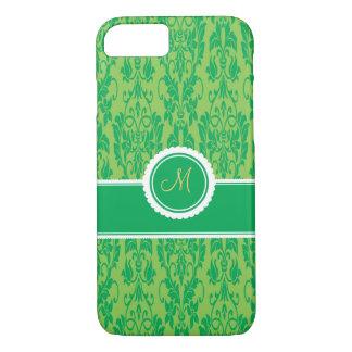Kelly Green Monogrammed Damask iPhone 7 case