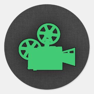 Kelly Green Movie Camera Classic Round Sticker
