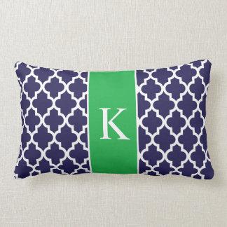 Kelly Green Navy Blue Moroccan Custom Monogram Lumbar Pillow