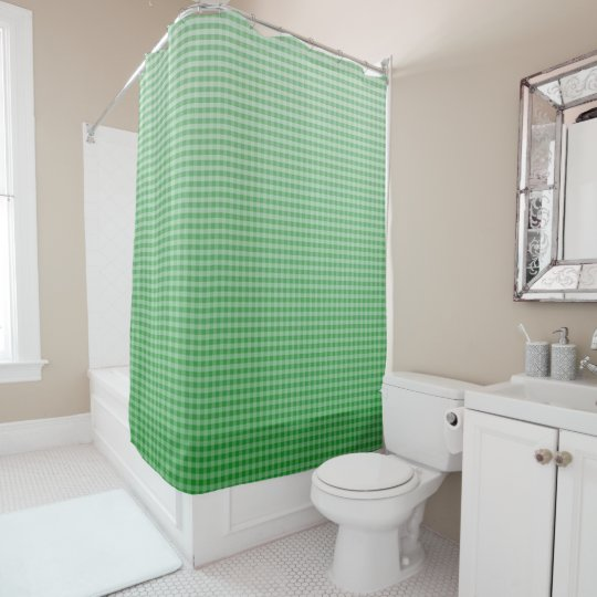 Kelly Green Ombre Gingham Shower Curtain