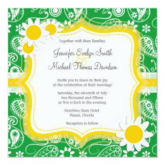 Kelly Green Paisley; Daisy Invitation