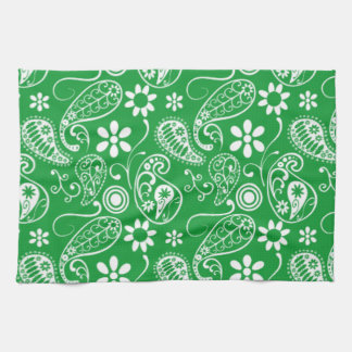 Kelly Green Paisley; Floral Kitchen Towels
