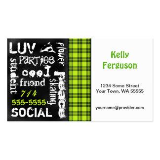 Kelly Green Plaid, Grunge Chalkboard Business Card