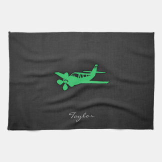 Kelly Green Plane Kitchen Towels