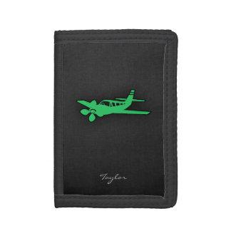 Kelly Green Plane Tri-fold Wallet