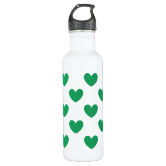 Kelly green polka hearts on white stainless steel water bottle