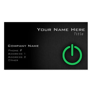 Kelly Green Power Button Business Card