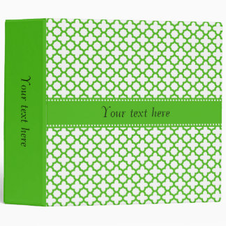 Kelly Green Quatrefoil Pattern 3 Ring Binder