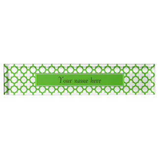 Kelly Green Quatrefoil Pattern Desk Name Plate