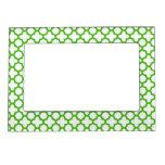 Kelly Green Quatrefoil Pattern Picture Frame Magnets