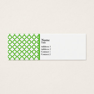 Green white quatrefoil moroccan business cards templates zazzle kelly green quatrefoil pattern mini business card reheart Gallery