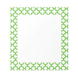 Kelly Green Quatrefoil Pattern Note Pad