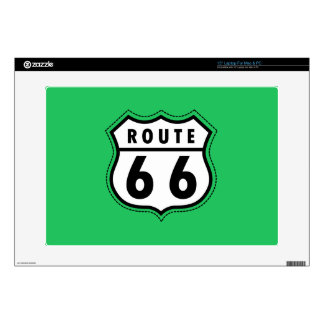 """Kelly Green Route 66 Road Sign 15"""" Laptop Decal"""