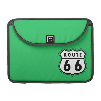 Kelly Green Route 66 Road Sign Sleeves For MacBook Pro