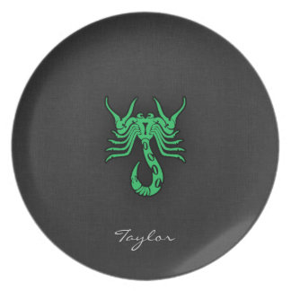 Kelly Green Scorpio Melamine Plate