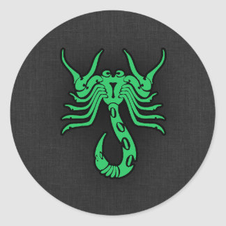 Kelly Green Scorpio Classic Round Sticker