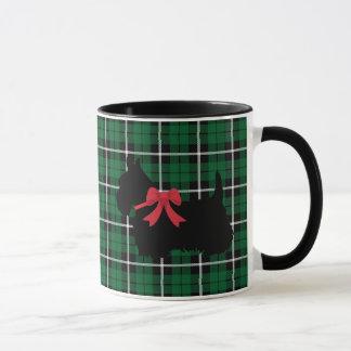 Kelly green Scottish Terrier white/black plaid Mug