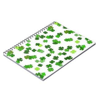 """Kelly green """"Shamrocks Falling"""" Notebook"""