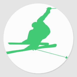 Kelly Green Snow Ski Classic Round Sticker